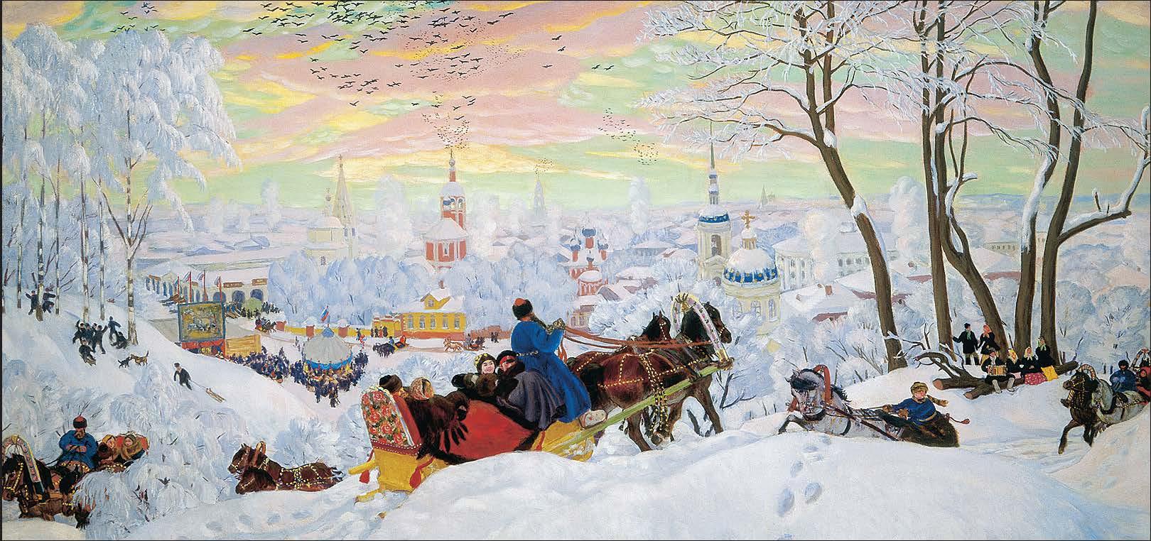Картинки русская зима и тройка лошадей